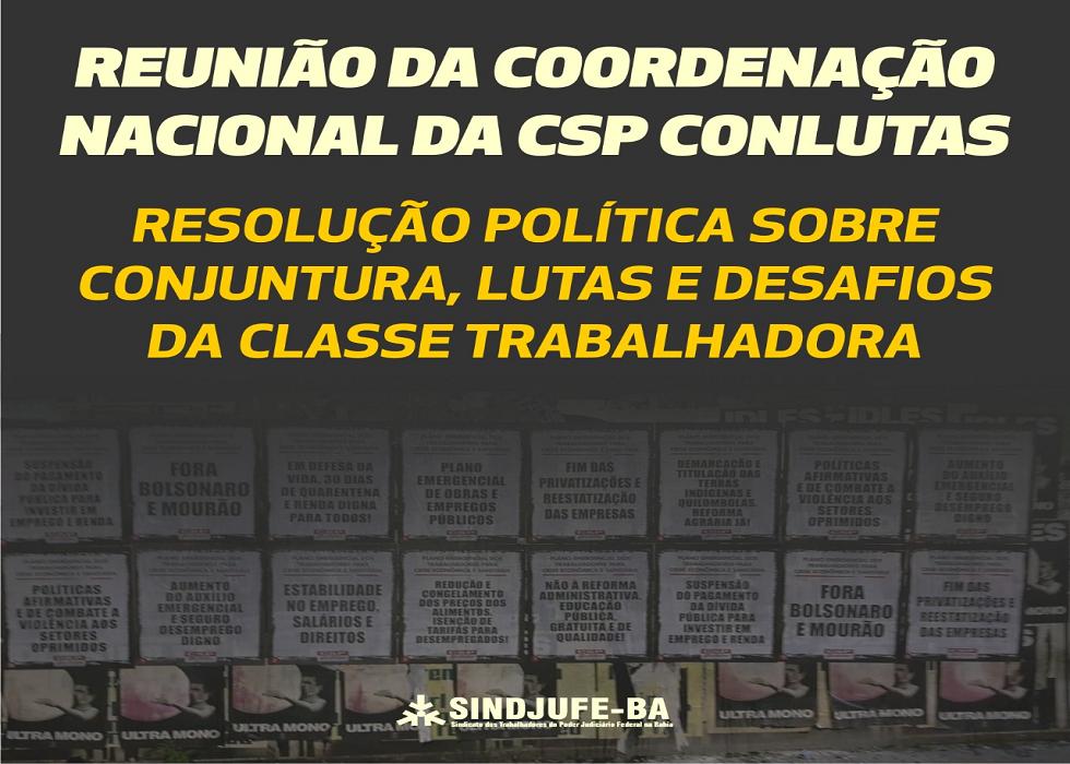 Coordenação Nacional da CSP-Conlutas aprova Resolução